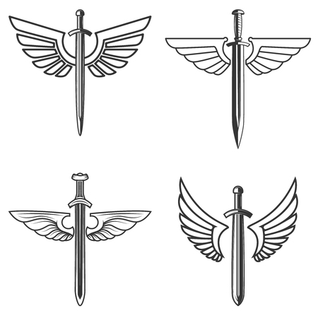 Set of emblems with medieval sword and wings. Design element for icon, label, emblem, sign.