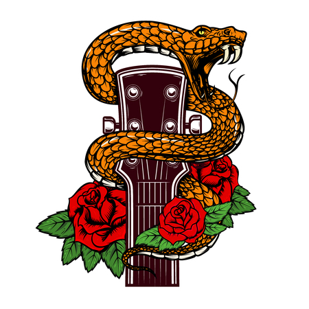 Guitar head with snake and roses. Design element for poster, card, banner, emblem, t-shirt.