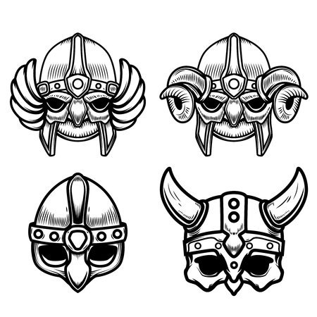 Set of viking helmets isolated on white background. Design element for icon, label, sign.