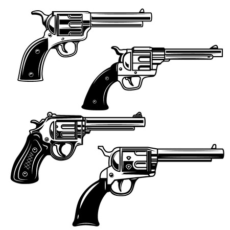 Set of revolvers on white background. Design elements for logo, label, emblem, sign. Vector image