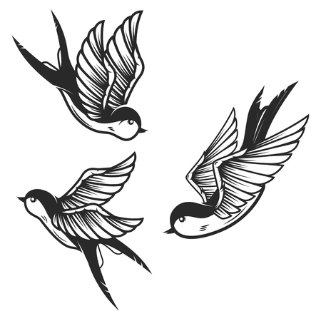 Set of swallow birds on white background. Design elements for logo, label, emblem, sign. Vector image Иллюстрация