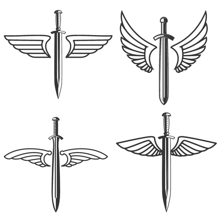 Set of emblems with medieval sword and wings. Design element for logo, label, sign. Vector illustration