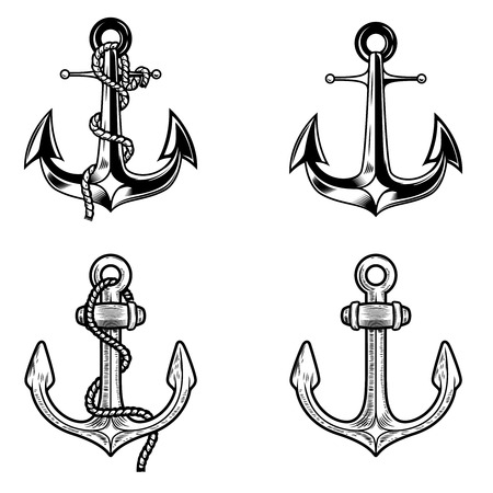 Set of anchors on white background. Design elements for logo, label, emblem, sign. Vector image