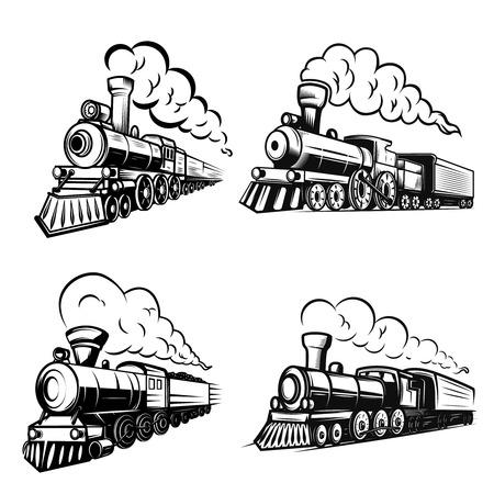 Conjunto de locomotoras retro sobre fondo blanco. Elementos de diseño de logotipo, etiqueta, emblema, signo. Imagen vectorial