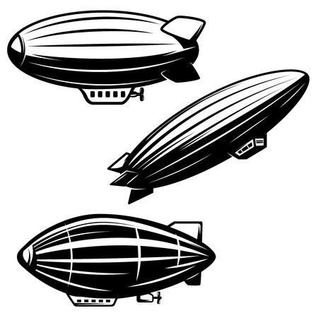Set of aerostat illustrations on white background. airships zeppelins. Design elements for logo, label, emblem, sign. Vector image Çizim