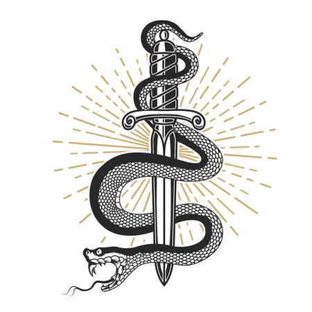Slang op mes in tattoo-stijl. Ontwerpelement voor t-shirt, poster, kaart, embleem, teken. Vector illustratie Vector Illustratie