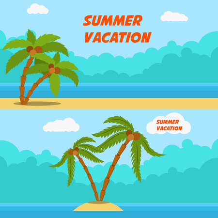 Summer vacation. Set of cartoon style banners with palms and beach. Vector image