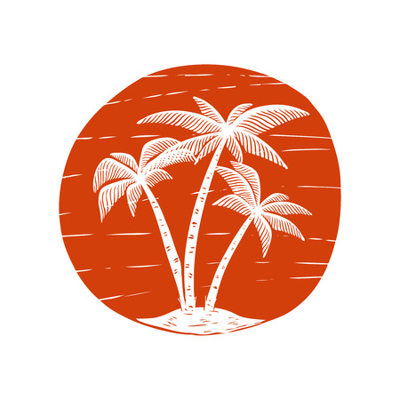 Hand drawn illustration with palms and sun. Design element for poster, card, banner, t shirt. Vector image Illustration