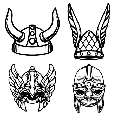 Set of viking helmets isolated on white background. Design element for logo, label,sign. Vector image