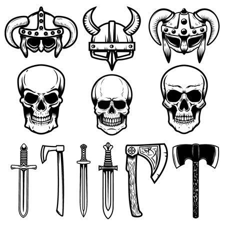 Set of viking helmets, weapon, skulls. Design elements for logo, label, emblem, sign. Vector illustration 向量圖像