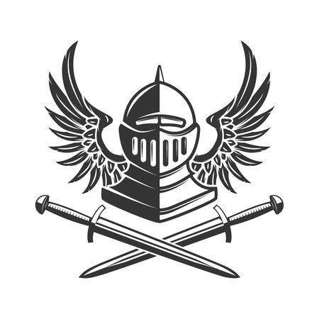 Winged Knight helmet with crossed swords