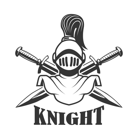 Emblem template with medieval knight helmet Illustration