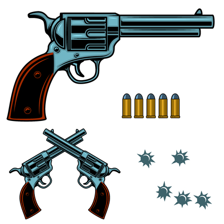 Revolver colorful illustration. Gun bullets and holes