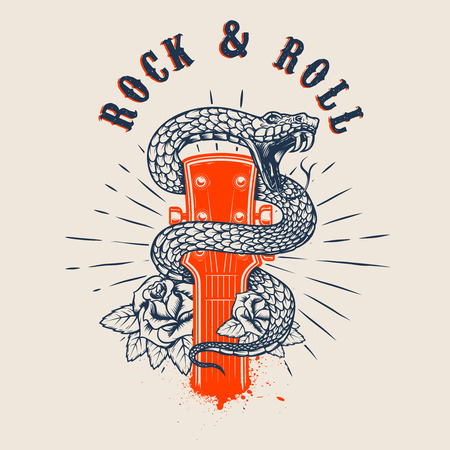 Rock and roll .Guitar head with snake and roses
