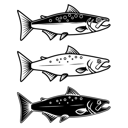 Set of salmon icons on white background Иллюстрация