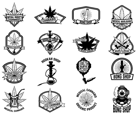 Set of vintage emblems with medical marijuana Illustration