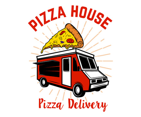 Pizza delivery track. Design element for logo, label, emblem, sign. Vector image Illustration