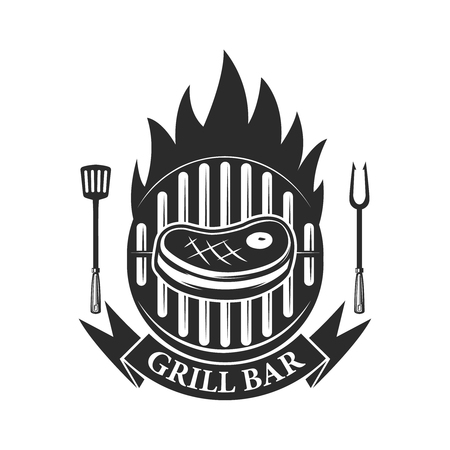 Grill bar. Cutted meat and crossed meat cleavers. Design element for logo, label, emblem. Vector illustration