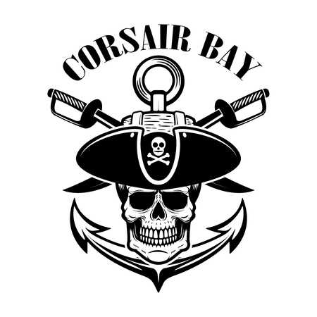 pirates. Emblem template with swords and pirate skull. Design element for logo, label,  sign. Vector illustration