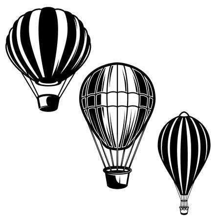 Set of illustrations of air balloons. Design element for logo, label, emblem, sign. Vector image