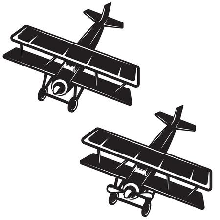 Airplane icon on white background. Design element for logo, label, emblem, sign, badge. Vector image