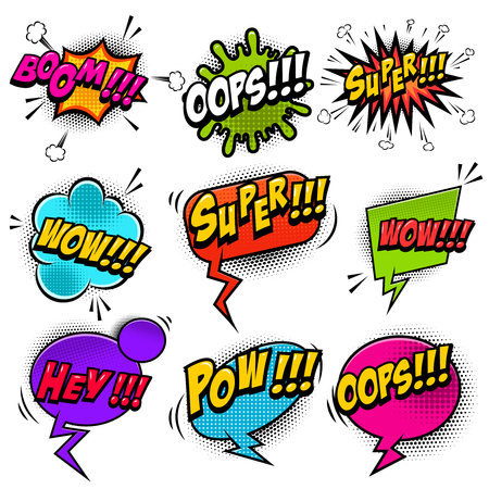 Set of comic style speech bubbles with sound text effects.Design elements for poster, t shirt, banner.  Vector image