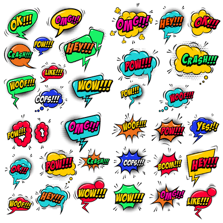 Big set of comic style speech bubbles with sound text effects.Design elements for poster, t shirt, banner.  Vector image