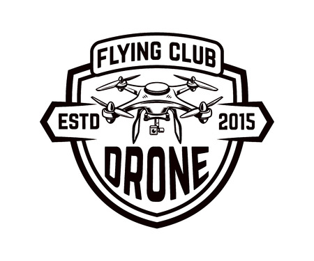 Drone icon isolated on white background.  Design element for logo, label, emblem, sign. Vector illustration Illustration