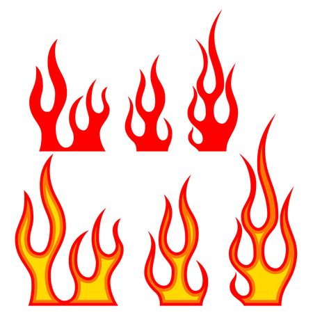 Set of fire illustrations on white background. Design elements for poster, emblem, sign, badge. Vector image