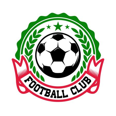 Voetbalteam. Embleem sjabloon met voetbal. Ontwerpelement voor logo, etiket, teken, badge. Vector illustratie