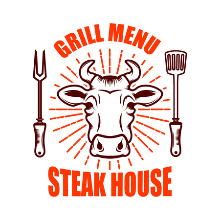 Steak house. Bull head  and crossed kitchen knives. Design element for logo, label, emblem. Vector illustration  イラスト・ベクター素材