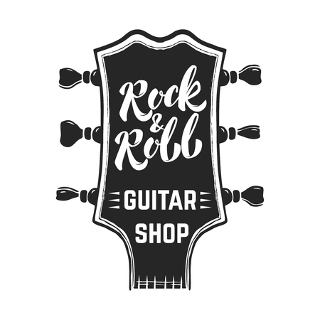 Rock and roll. Guitar headstock with lettering. Design elements for   label, emblem, sign, poster. Vector image