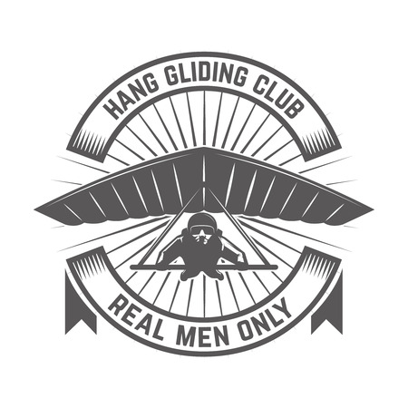 Hang gliding club emblem template. Design element for logo, label, emblem, sign. Vector illustration