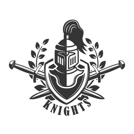Emblem template with medieval knight helmet. Design element for logo, label,sign. Vector illustration