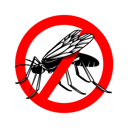 Mosquito danger sign template. Design element for poster, card, emblem, logo. Vector illustration