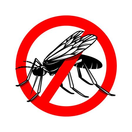 Mosquito danger sign template. Design element for poster, card, emblem, logo. Vector illustration
