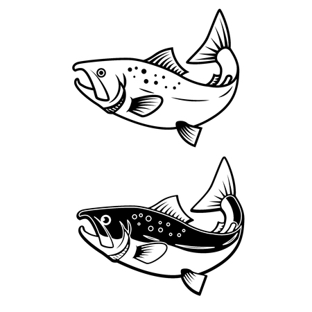 Set of salmon icons on white background. Design element for   label, emblem, sign. Vector illustration  イラスト・ベクター素材