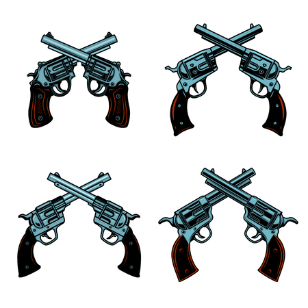 Set of crossed revolvers on white background. Design elements for poster, emblem, sign. Vector illustration Çizim