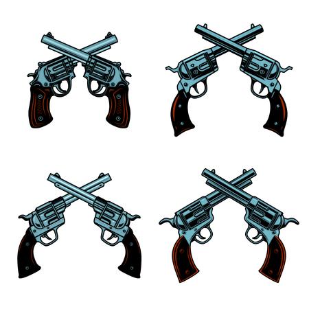 Set of crossed revolvers on white background. Design elements for poster, emblem, sign. Vector illustration Illustration