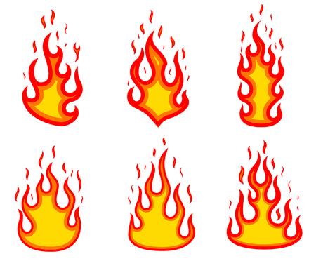 Set of fire illustrations on white background. Design elements for poster, emblem, sign, badge. Vector image