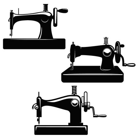 Set of sewing machine illustrations. Design element for poster, card, logo, emblem, sign. Vector image