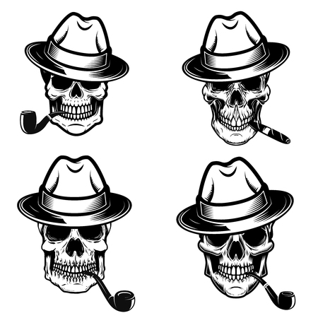 Set of skulls of smokers. Design elements for logo, label, emblem, sign, poster. Vector image