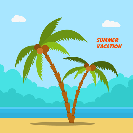 Summer vacation. Cartoon style banners with palms and beach. Vector image