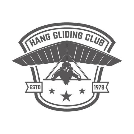 Hang gliding club emblem template. Design element for logo, label, emblem, sign. Vector illustration Banque d'images - 102486585