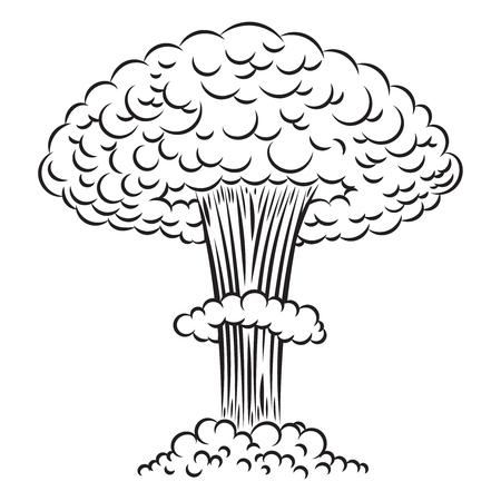 Explosion nucléaire de style bande dessinée sur fond blanc. Élément de conception pour affiche, carte, bannière, flyer. Illustration vectorielle Vecteurs