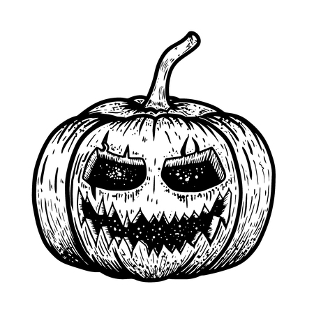 Illustration of scary halloween pumpkin isolated on white background. Design element for poster, card, banner, flyer. Vector image Illustration