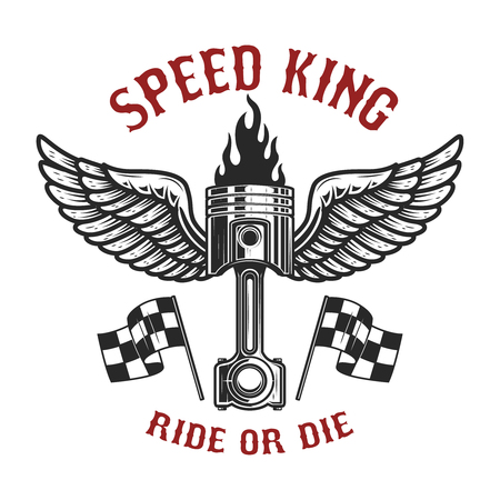 Speed king. Car piston with wings. Design element for poster, card, banner, flyer. Vector image
