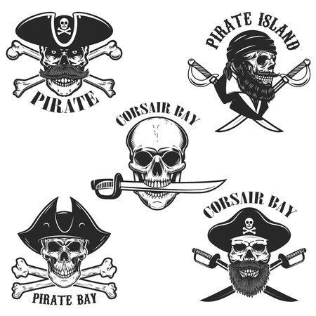 Set of emblems with pirate skulls and weapon. Design element for logo, label, badge, sign. Vector illustration