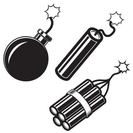 Illustration of comic style bomb, dynamite sticks. Design element for poster, card, banner, flyer. Vector image