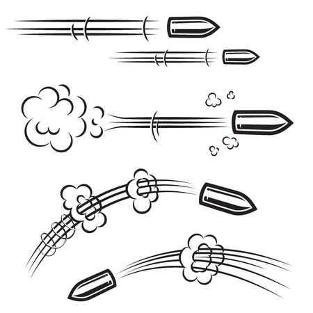 Set of comic style bullet action effects . Design element for poster, card, banner, flyer. Vector illustration